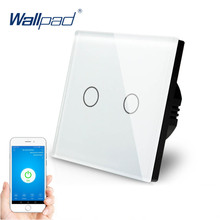 2 Gang WIFI Control Touch Switch Wallpad EU UK 2 Gang 1 Way Glass Frame Smart Home Alexa Google home IOS Android Wall Switch