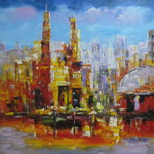 Palette knife oil painting cityscape hand painted oil painting on canvas for wall decoration