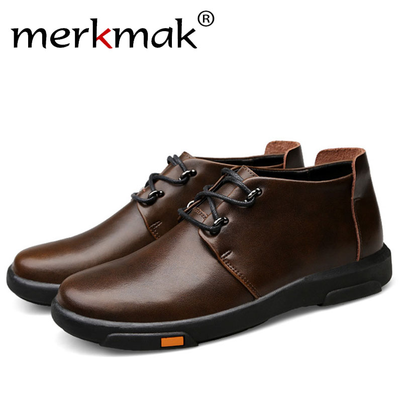 Merkmak Spring Autumn Men Shoes Casual Male Genuine Leather Brand Walking Driving High Quality Comfortable Footwear Man Flats spring autumn fashion men high top shoes genuine leather breathable casual shoes male loafers youth sneakers flats 3a