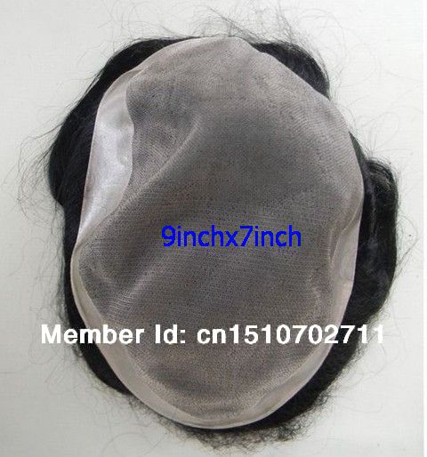 Stock toupee with fine mono and poly around folded edges at front 9 x 7 in