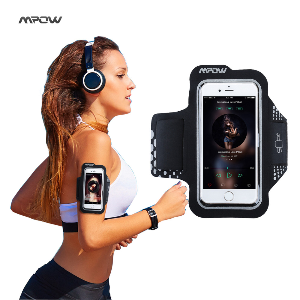 Mpow Sweatproof Exercise Running Sport Armband for iPhone 5S 6s6 Samsung Galaxy S7 S6, Xiaomi Huawei P9 Black Sport Phone Cases