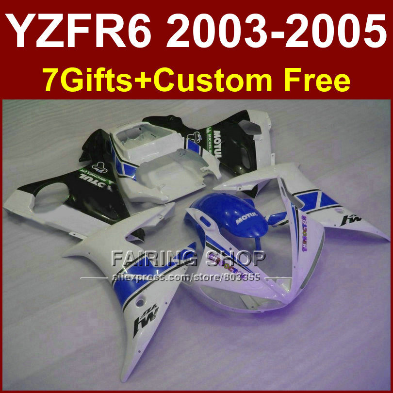 TOP quality body repair parts for YAMAHA r6 03 04 05 Motorcycle fairings sets YZF R6 2003 2004 2005 white blue fairing kit KG5F motorcycle front light headlight head lamp for yamaha yzf r6 yzfr6 yzf r6 2003 2004 2005 03 04 05