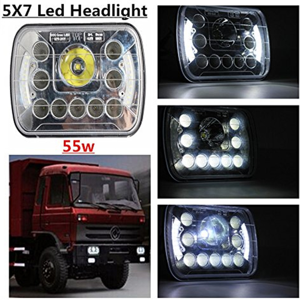 2 Pcs 5x7 inch 55W Led Car Headlight Square Truck LED Headlight With Halo Ring DRL