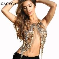 GACVGA 2018 Summer Sequined Tassel Sexy Crop Top Beach Women Halter Tops Bralettes Metal Chain Backless Tank Top