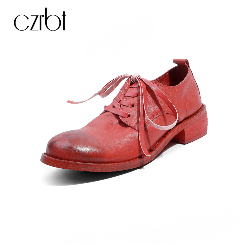 CZRBT Brand Style Women Brogue Derby Shoes Flats Spring Top Quality Sheep Genuine Leather And Pig