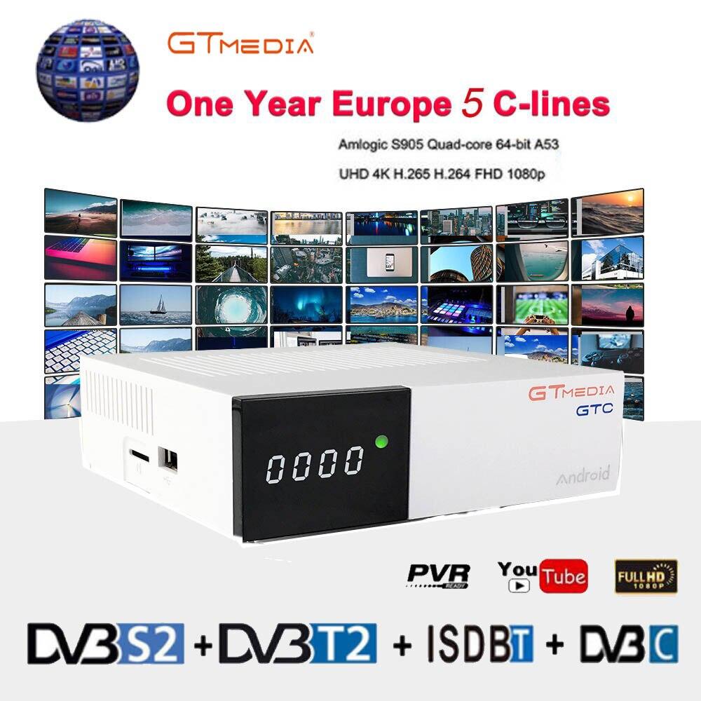 Freesat GTC 4 K Boîte de TÉLÉVISION Android Récepteur DVB-C Câble Youtube DVB-S2 DVB-T2 Bluetooth 4.0 Récepteur Satellite Cccam IPTV Biss VU