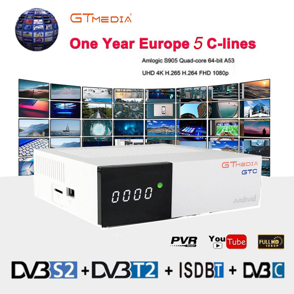 Freesat GTC 4K Android TV Box Receptor DVB C Cable Youtube DVB S2 DVB T2 Bluetooth 4.0 Satellite Receiver Cccam IPTV Biss VU-in Satellite TV Receiver from Consumer Electronics