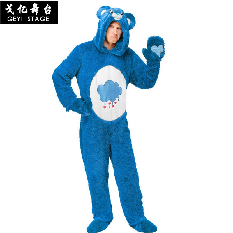 new Anime Blue bad temper bear Professional New Blue Teddy Bear Mascot Cosplay Costume Fancy Dress for Adult Party Clothes