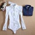 Novas Chegadas Mulheres Corpo Blusa Manga Longa Blusas Elegantes Tops Feminino Blusas Túnica Feminina Sólidos Blusa Plus Size # B8