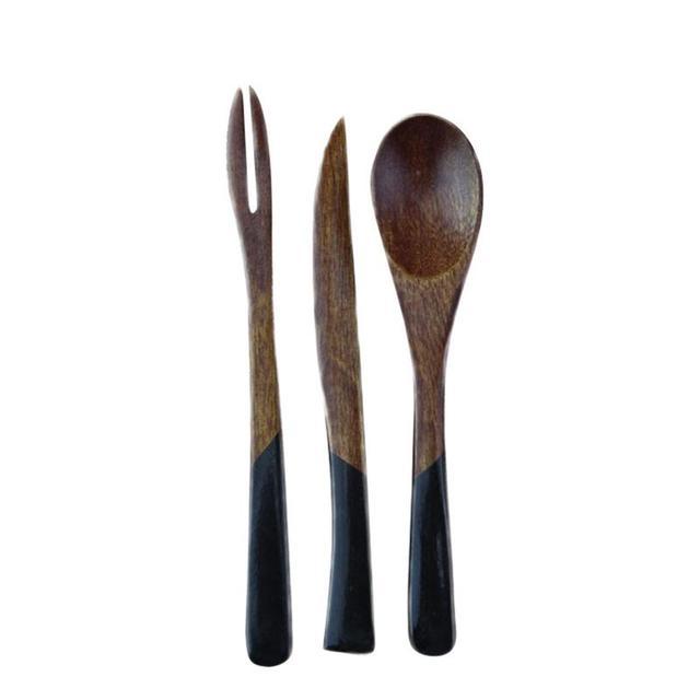 Natural Wooden Tableware Spoon Chopsticks Fork Set Western Style Spoon And Knife Set Children's Tablewarel
