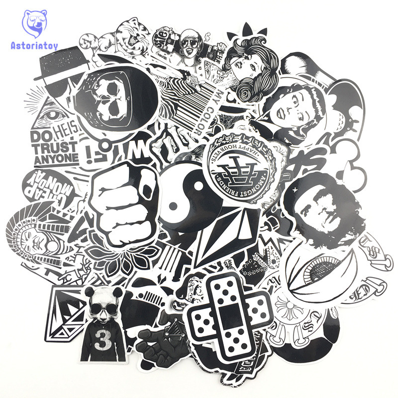 60pcs/lot Mixed Waterproof Stickers Toy Styling Black And White DIY Vinyl Laptop Luggage Bicycle Phone Car Sticker Decal