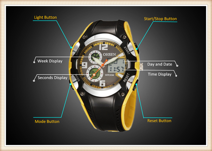 Original OHSEN Brand Quartz Sport Watch Wristwatch Children Boys Kids Gift Waterproof Led Sports Silicone Band Fashion Watches (9)