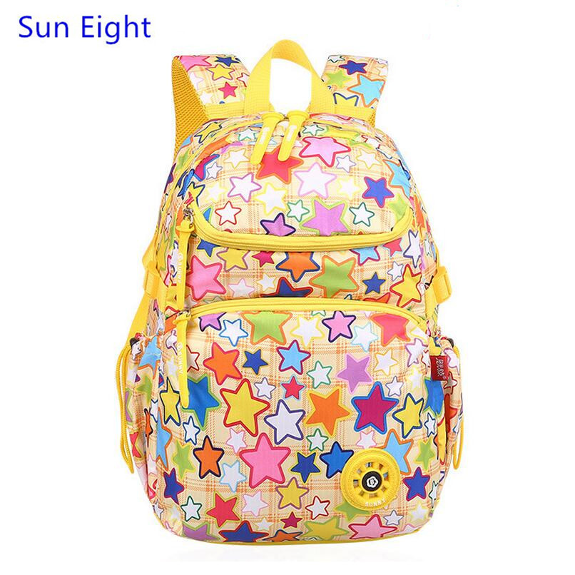 Sun Eight yellow bag school bags for girls school backpack kids bag children backpacks rainbow star printing backpack book bag