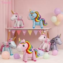 Taoup 57cm Rainbow Unicorn Balloons Foil Figures Party Decor Unicornio Birthday Ballon Favors Baby Shower Girl Boy