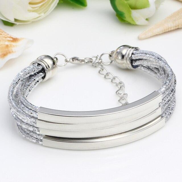 1a74e7fc2e09 Nuevo multicapa encanto de cuero pulseras de plata para mujer Vintage  Pulseira femenina de moda DIY