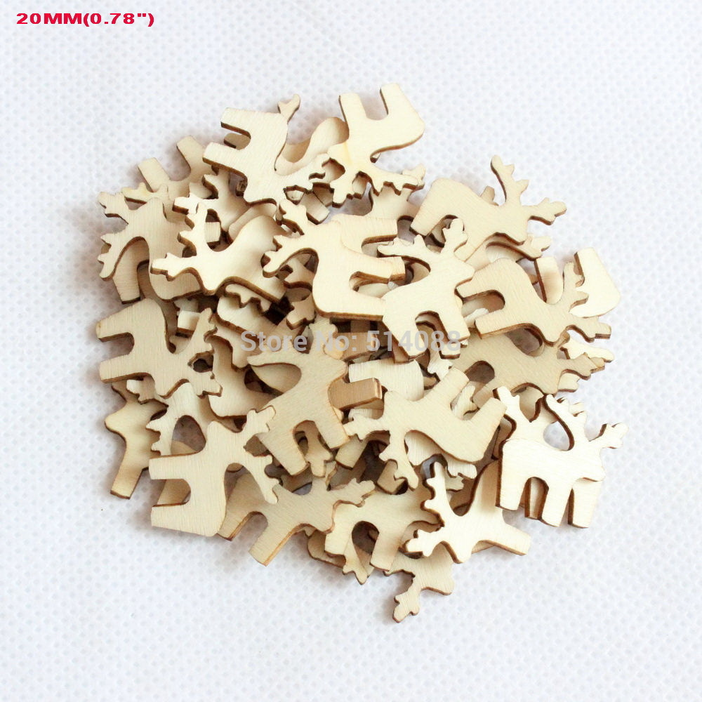 Small wooden ornaments -  150pcs Set 20mm Blank Natural Wooden Christmas Ornaments Mini Reindeer 0 8 H8099553d