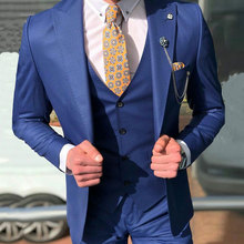 Latest Designs Wedding Suits for Men Custom Made Blue Groom Tuxedos 3Piece Terno Masculino (Jacket+Pant+Vest)