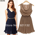 Free Shipping Women's New Fashion Excellent Quality  Plus Size O-neck Sleeveless Solid Color Elegant  Pleated Chiffon Dress