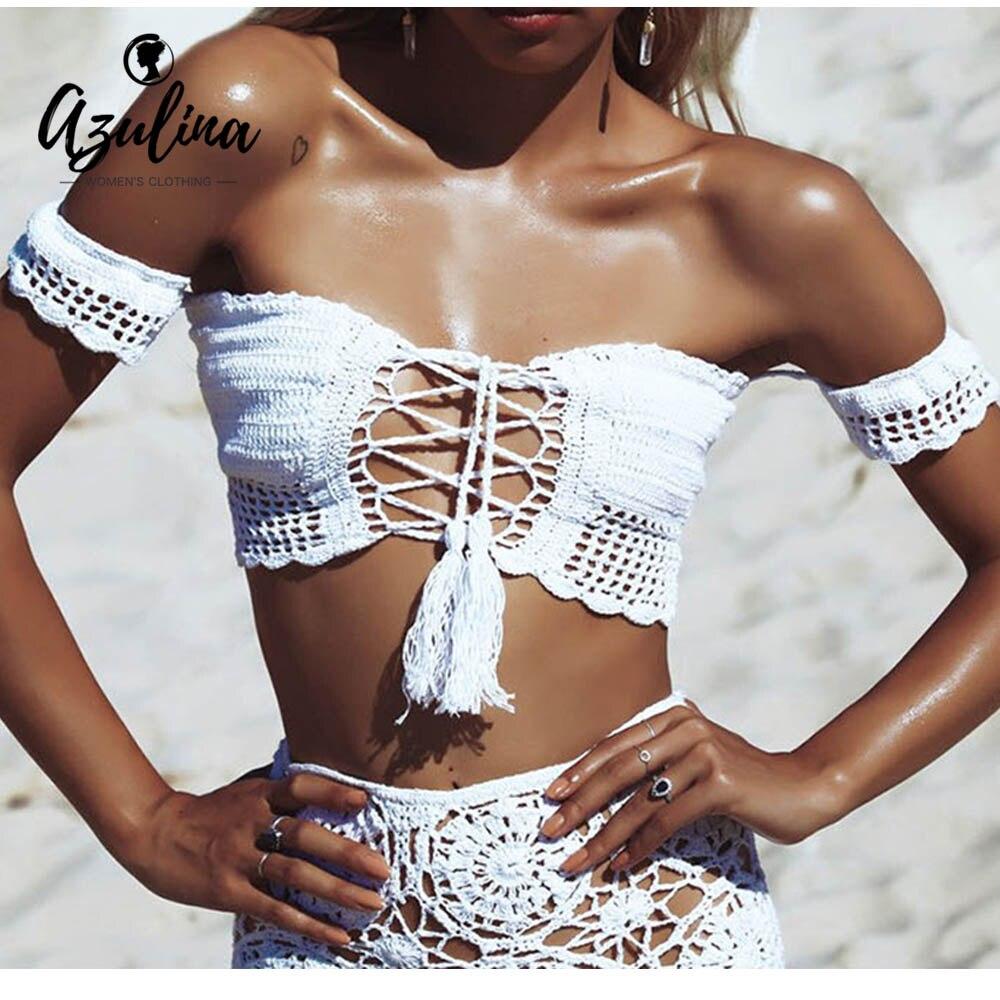 AZULINA пикантные Вязаные кружевные Up Crop Top Для женщин с открытыми плечами выдалбливают майка Лето 2017 г. пляжная бюстье футболки бретели