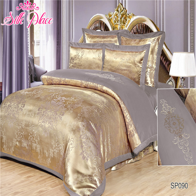 """Silk Place"" Quality Satin Jacquard Bedding Set Queen Size 6pcs Duvet Cover Bed Sheet Pillowcases"