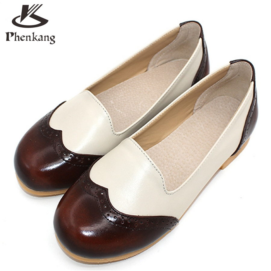 ФОТО Genuine leather big woman US size 9.5 designer vintage flat shoes round toe handmade brown beige 2017 oxford shoes for women fur