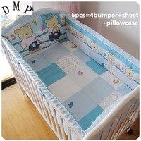 Promotion! 6PCS Blue Bear baby cot bedding Bed Linen 100% cotton crib bedding set free (bumper+sheet+pillow cover)