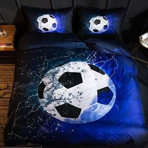 Image 1 - Parure de lit avec impression en 3D, housse de couette, de Football, de Baseball, de basket ball, décoration de chambre à coucher
