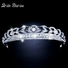 Lujoso nupcial Rhinestone Tiara mujeres corona accesorio de la boda joyería  nupcial Prom Party Tiara Noiva pelo de la boda Acces. 1e0a94dfc573