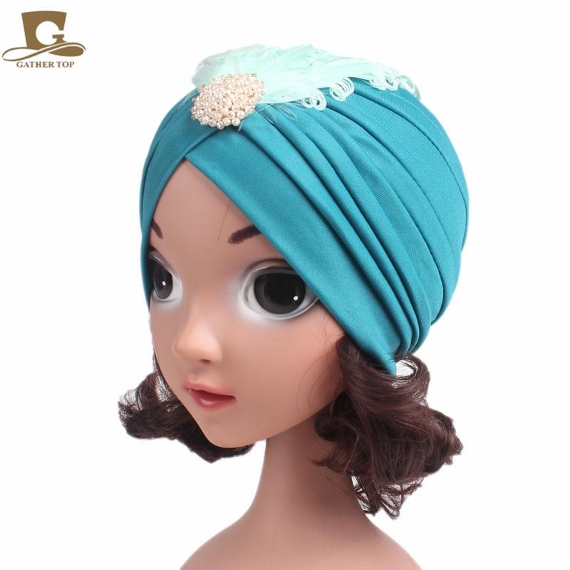 New Kids and Girls Rhinestone Embellished Feather Turban Vintage Flapper Dress Headpiece Diamante Great Gatsby Hat Children Cap headpiece