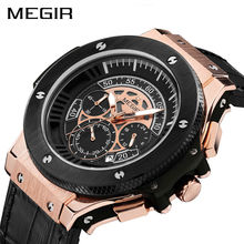 MEGIR Chronograph Men Watch Leathter Original Militar Relógios Sports Quartz Relógio de Pulso Reloj Hombre Homens Horas Relogio