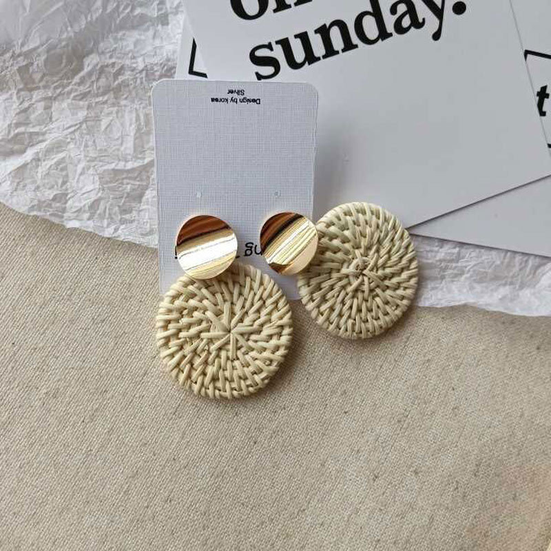 Hello Miss 2019 new metal round retro earrings geometric round bamboo and rattan woven earrings ladies earrings in Drop Earrings from Jewelry Accessories