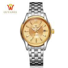 OUYAWEI Gold Men Skeleton Mechanical Watch mens automatic watch Steel strap Transparent Steampunk Montre Homme Wristwatch
