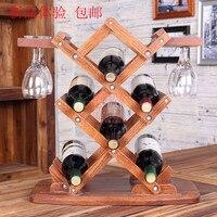 Настольная Складная Винная стойка для вина деревянная винная полка красный дуб theroom винный охладитель