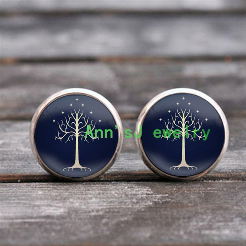 ES-00489 The-Tree-of stud earrings-Life-earring-jewelry ear nail-by-Gustav-Klimt