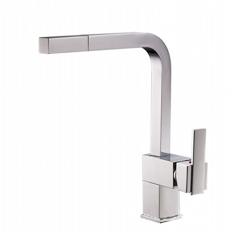 Brass Pull Out  Kitchen Faucet Sink Mixer Tap Single handle Double Control Deck Mounted Hot And Cold Water Taps Chrome Finish