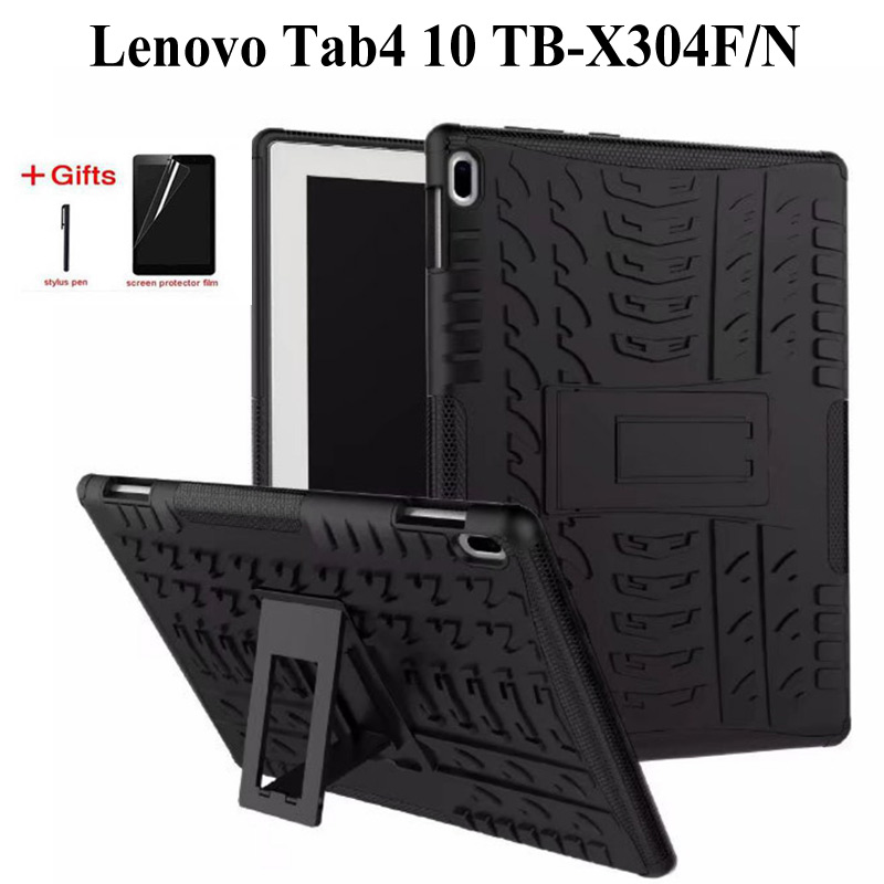 Heavy Duty 2 in <font><b>1</b></font> Hybrid Case For Lenovo TAB4 tab <font><b>4</b></font> <font><b>10</b></font> TB-X304F/N <font><b>10</b></font>.<font><b>1</b></font> inch Funda stand cover for lenovo tab <font><b>4</b></font> <font><b>10</b></font> case +Film+Pen image