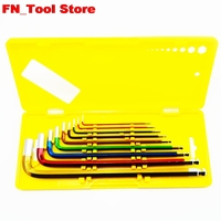 9pcs./set. multicolor Allen wrench set hexagonal wrench set CRV Ball head and Flat head extended edition Hexagon wrench tools