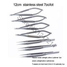 цена на 4pcs/set ophthalmic microsurgical instruments 12.5cm scissors+Needle holders +tweezers stainless steel surgical tool