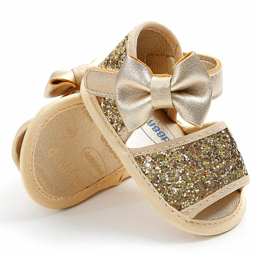 Baby Girl Sequins shoes Bow open toe Toddler First Walkers Kid sandals baby shoes leather+Hairband 2pc zapatillas bebe niña