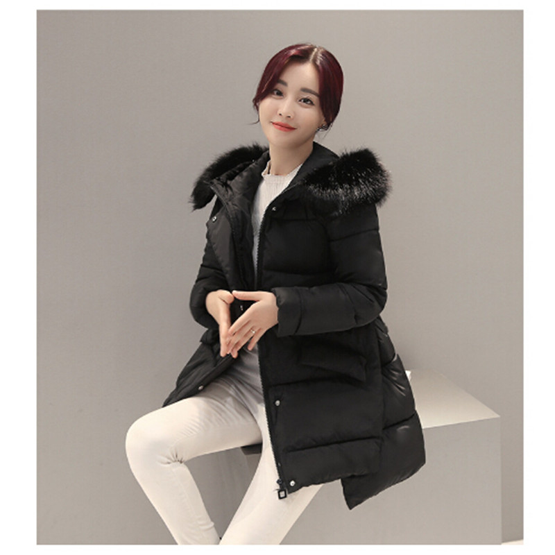 AILOOGE Winter Jacket Women 2017 New Europe Style Fashion Loose Medium Long Autumn Winter   Down   Parkas Lady   Down     Coat   Hot