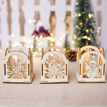 Wooden Mini Candlestick Candelabrum Creative Candle Holder Christmas Home Decoration Beautiful Santa Claus Xmas Kitchen Table(China)