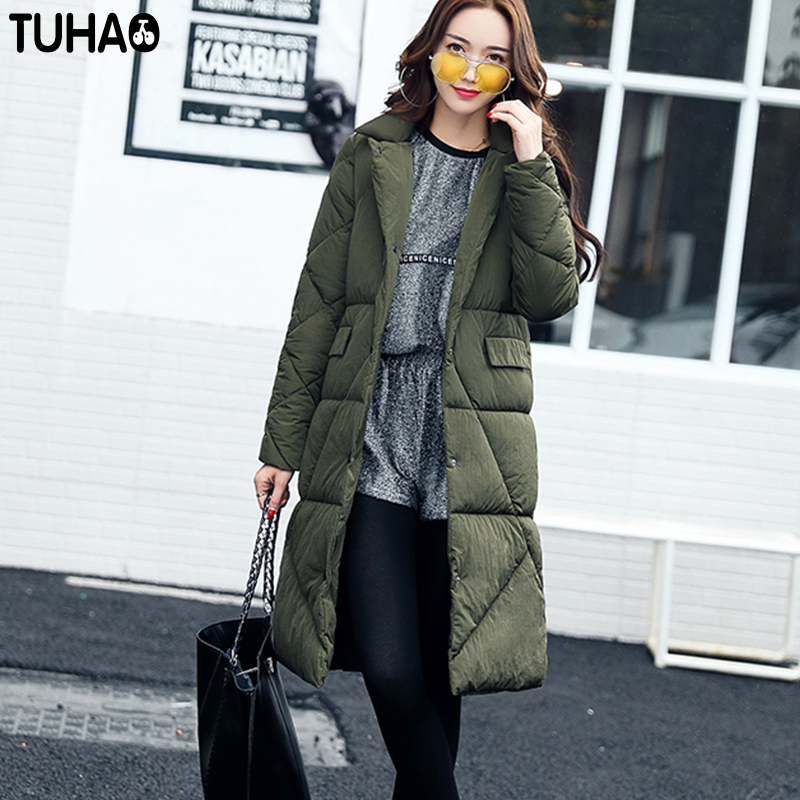 TUHAO 2017 New Winter Long Office Lady Coat Slim Pure Color Fashion Women's Jacket Thick Warm Down Cotton Outwear LW35 tuhao lady down cotton pure color manteau femme hiver thick warm jackets 2017 new autumn winter women hooded long coats lw20