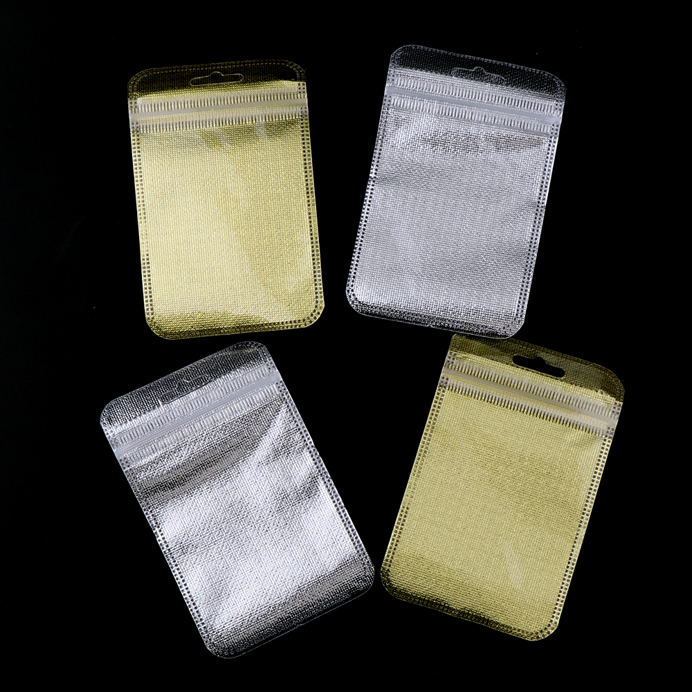 50 Pieces 2 Colors One Side Clear Plastic Ziplock Bag Gold Inlay Plastic Bag Packaging  Poly Bag Ziplock Pouch Jewelry Packaging
