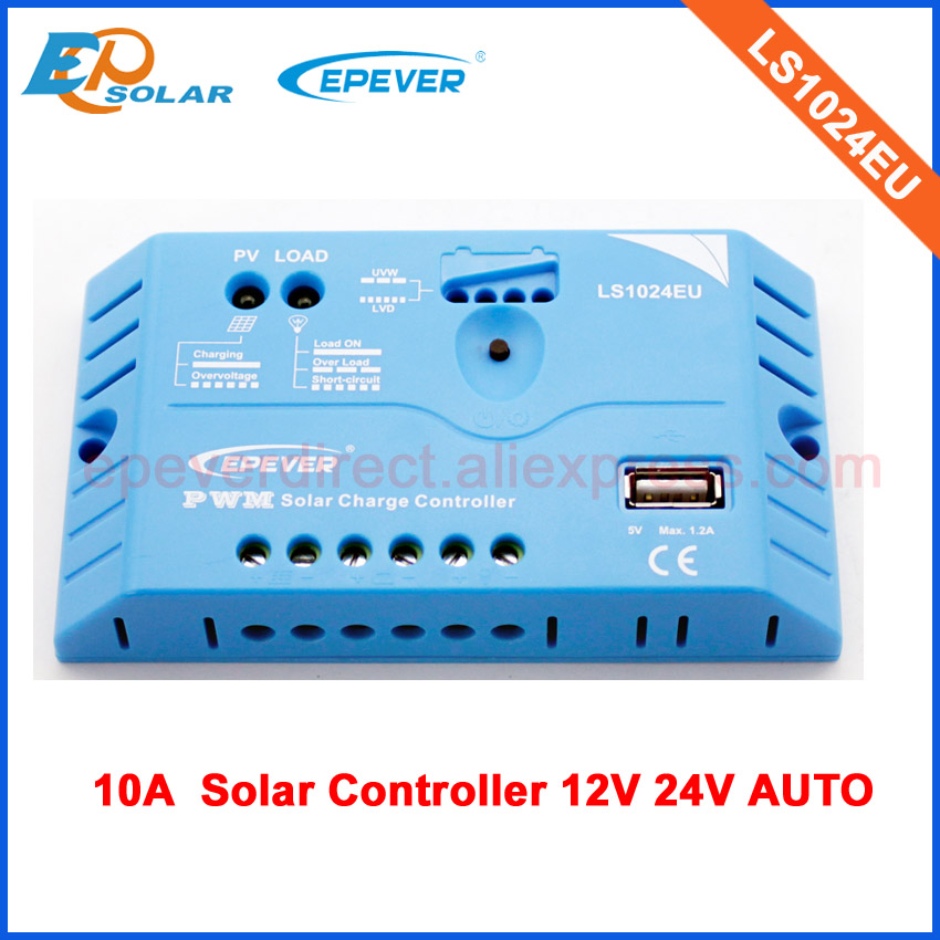 LS1024EU 10A 12V 24V Auto work solar battery charger regulator PWM built in USB port for charing device PWM series