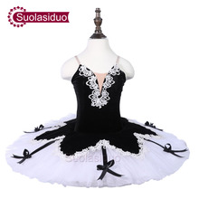 Girls Black Ballet Tutu White Swan Performance Stage Wear Children  Dance Competition Costumes Adult Apperal