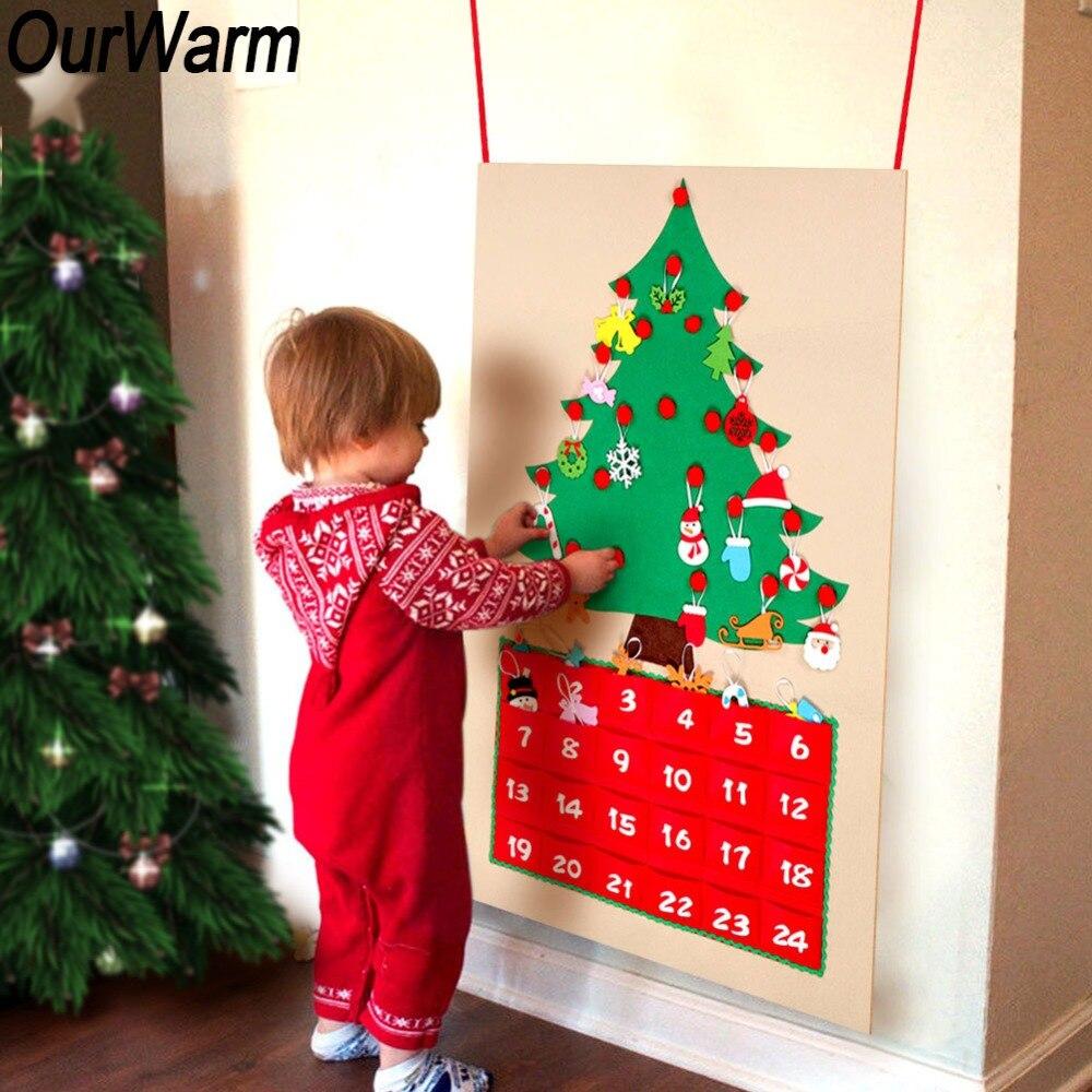 Ourwarm natal feltro advento calendário pendurado ornamento decoração data 1-24 contagem regressiva para natal ano novo suprimentos