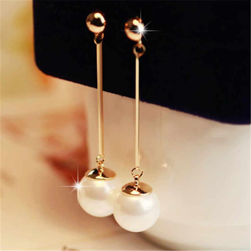 ยาวพู่ต่างหูไข่มุกจำลองสำหรับผู้หญิงของขวัญ Bijoux เครื่องประดับเกาหลีสีทอง Pendientes Boucle d'oreille