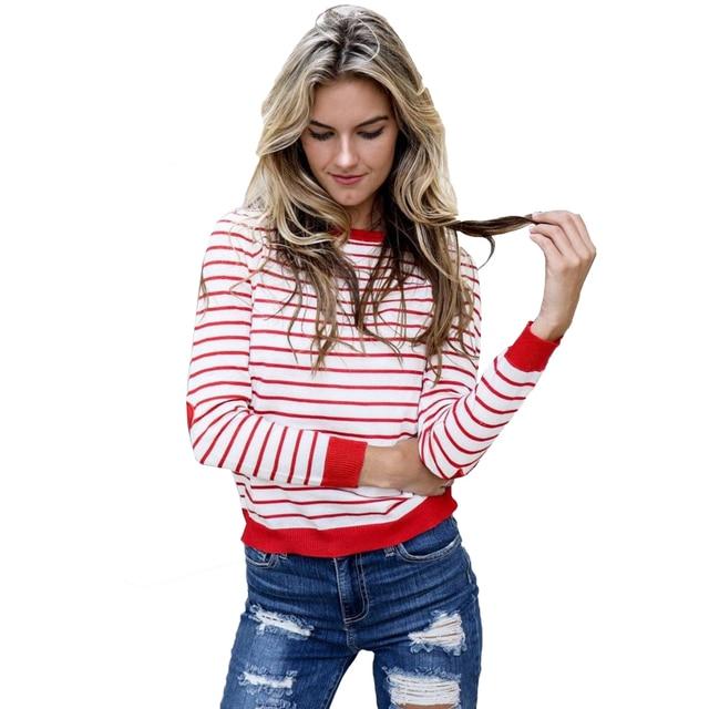 Hot Mulheres camiseta O Pescoço de Manga Longa Listrada Vermelha e Branca  Remendo cotovelo Primavera t d1791f6381d