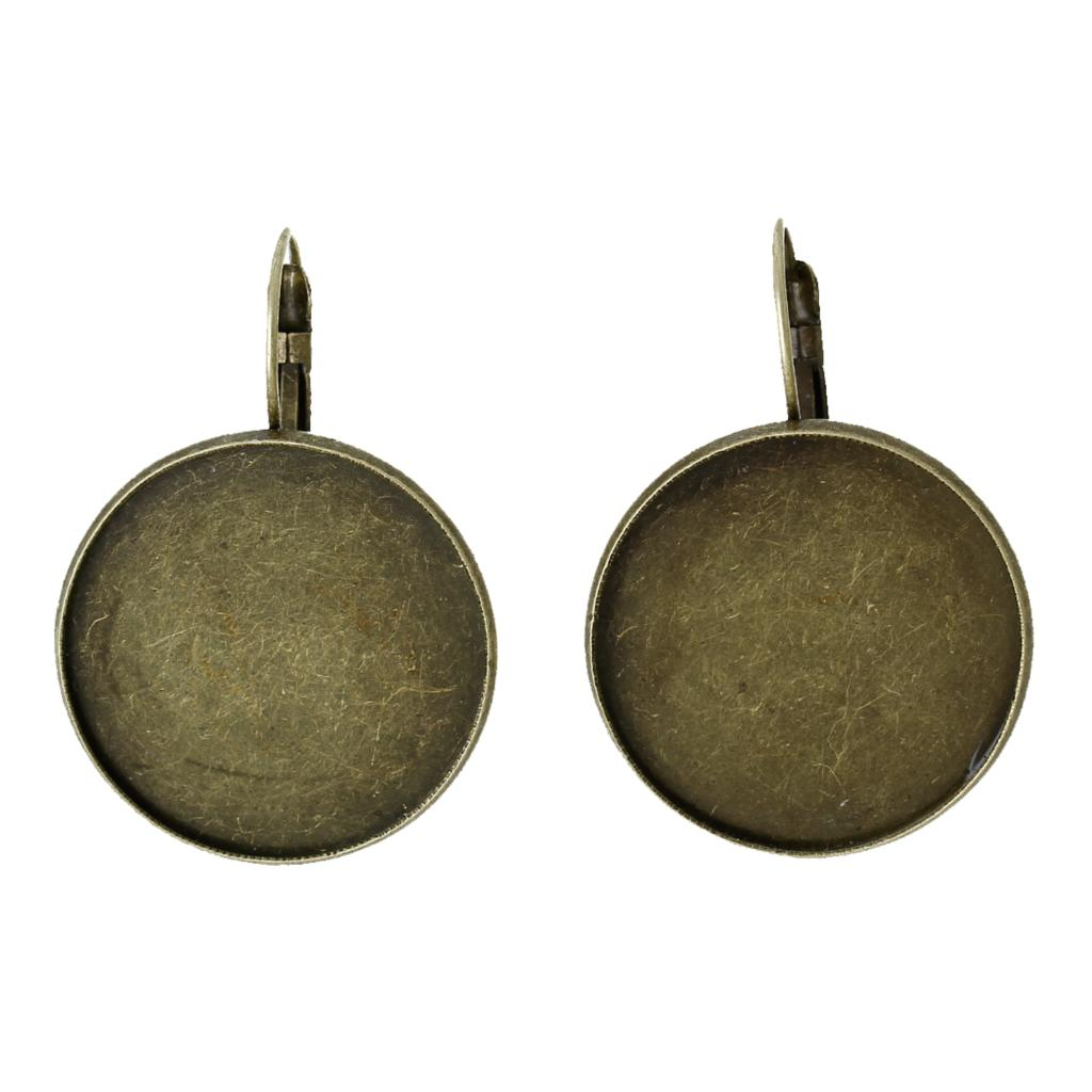 Copper Earring Clip Findings Round Antique Bronze Cabochon Settings(Fits 20mm)34mm(1 3/8)x 22mm(7/8),10 PCs 2015 new