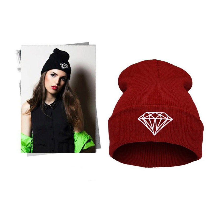 Autumn & winter diamond hat for women knitted slouchy beanie,Spain gorros womens bonnet,Skull Chunky Baggy warm head Cap knitted winter warm female hat rabbit fur beanie cap woman chunky baggy cap skull gorros de lana mujer bonnet femme beanies cap